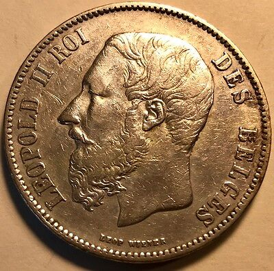 BELGIUM - Leopold II - 5 Francs (5 Frank) - 1872 - Large Silver Coin!