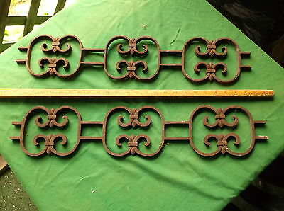 Lot of 2 Architectural Salvage Cast Iron Trellis Brackets Panels Corbels