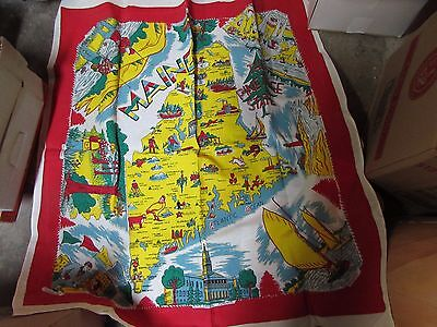 Vintage Maine State Souvenir Tablecloth