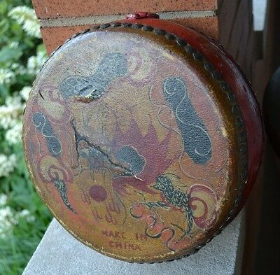 "Vintage Chinese Handmade Painted 2 Sided Drum 9.5"" Diameter X 4"" H MAKE IN CHINA"