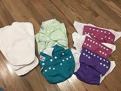 NEW FUZZIBUNZ Lot Of 6 All In One Cloth Diapers Size Small Up To 18 Lbs