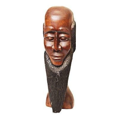 Hand Carved Wood AFRICAN MAN w BEARD STATUE folk art wooden black figure tiki