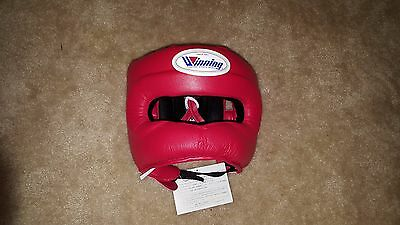 Winning Boxing Headgear FG-5000 Red, Full Face Design, New from Japan w/ Tags