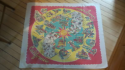 "Vintage STATE MAP of CALIFORNIA SOUVENIR TABLECLOTH Cotton, Small, 34""x30"""