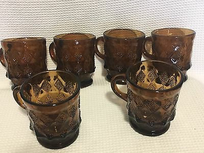 Fire King Anchor Hocking Amber Kimberly Diamond Brown Mug Glass Lot Of 6 Coffee