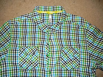 Adidas Neo Label Men's Button Plaid Shirt Green Blue Black Xl Used Cotton