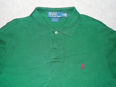 Polo Ralph Lauren Custom Fit Men's Shirt Green Red Large Used 100% Cotton