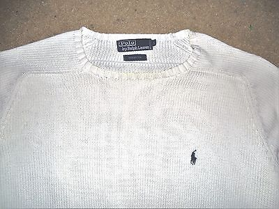 Polo Ralph Lauren Men's Sweater White Navy Blue Large Used Cotton