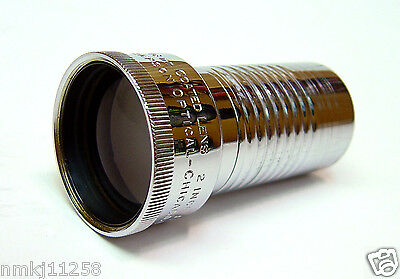 "VTG SIMPSON 16mm MOVIE PROJECTOR LENS PROJECTION OPTICAL 2"" F/1.6 CHROME PLATED"