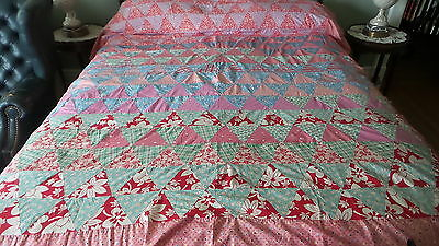 "Antique QUILT TOP Triangle Rows, Reds!, 94""x76"",1930's-40's Era"