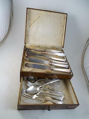 Antique Wm.A.Rogers Silver Plated Flatware Set Spoon Knife Fork Essex Ferncliff