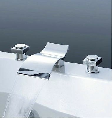 Wave Waterfall Spout Bathroom Basin Mixer Tap Bathtub 3 Piece Faucet Set new