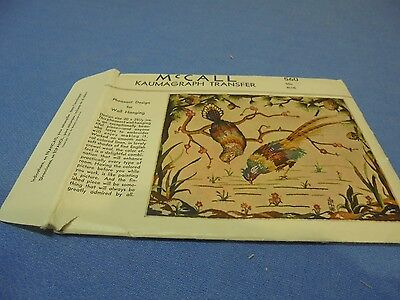 Vintage McCall Kaumagraph Transfer Pheasant Design for Wall Hanging 560 Transfer