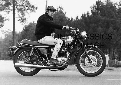 Cool Steve Mcqueen On His Triumph Bonneville Motorcycle Photo Sporting Hat Cap