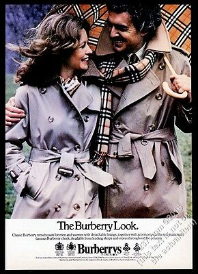 1978 Burberrys women's men's trenchcoat trench coat scarf fashion photo print ad