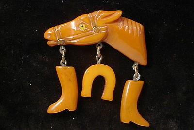 Vintage  Butterscotch BAKELITE Tested  HORSE Brooch Pin with Dangles