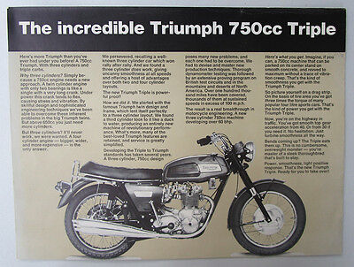 1968 Triumph Motorcycle Brochure Catalog Poster Trident T150 Three Cylinder 750