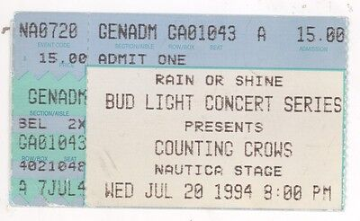 RARE Counting Crows 7/20/94 Cleveland OH Nautica Stage Concert Ticket Stub!