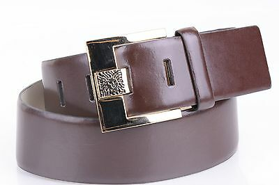 $38 Anne Klein Women's Belt Wide Bonded Leather Brown Square Gold Buckle XL