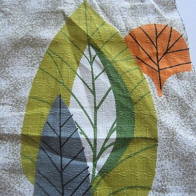 Vintage Fabric Quilt Craft Sew Dress Nice Remnant Textured Cotton 1950S Leaf Fq