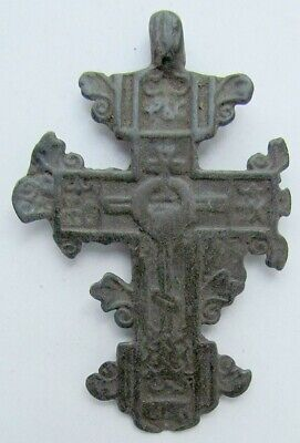 RUSSIAN 17th-18th CENTURY ANTIQUE BRASS NECK CROSS icon