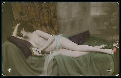 French German nude woman read book original c1910s tinted color photo postcard