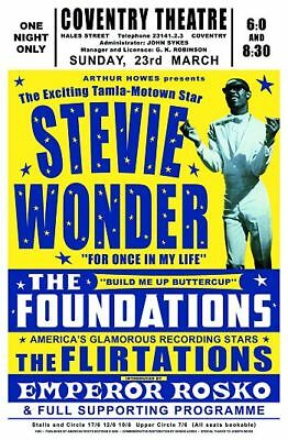 Stevie Wonder Coventry Theatre UK Poster Circa 1969