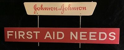 Vintage 1950s Johnson & Johnson First Aid Wood Store Display Sign Signage