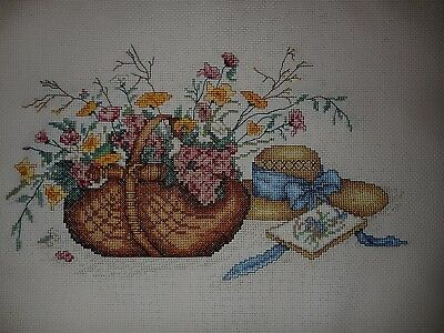 Cross Stitch Complete  Basket Of Flowers & Hat 54 X 40 Cm