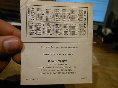 1955 Cleveland Indians Baseball Schedule Bucyrus Ohio Bianchi's Beer Wine Candy