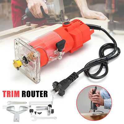 220V 300W 30000RPM Trim Router Woodworking Wood Clean Cuts Power Tool + Wrench