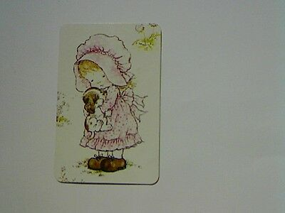 "1 Single Swap/Playing Card - Unsigned ""Sarah Kay"" Girl in Pink (Blank Back)"