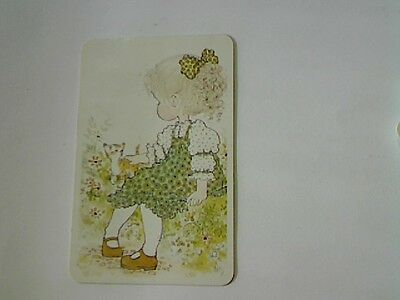 "1 Single Swap/Playing Card-Sarah Kay""Unsigned"" Girl in Green & Cat (Blank Back)"