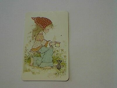 "1 Single Swap/Playing Card-Sarah Kay""Unsigned""Girl Giving Cat Milk (Blank Back)"
