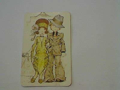 "1 Single Swap/Playing Card-Sarah Kay""Unsigned""Boy & Girl 20's Dress (Blank Back)"