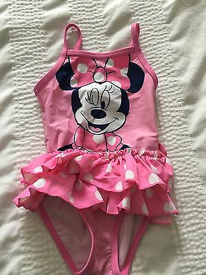 Cute Girls Minnie Mouse Pink Swimsuit Age 9-12 Months