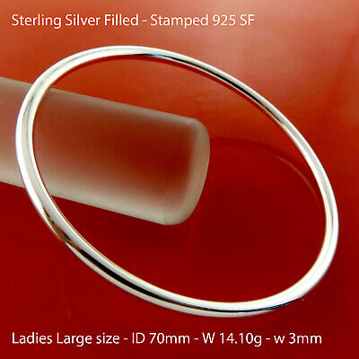 X037 Genuine Real 925 Sterling Silver S/f Solid Ladies Golf Bracelet Bangle
