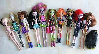 10x Mattel Monster High Dolls With Clothes & Accessories - JOB LOT BUNDLE