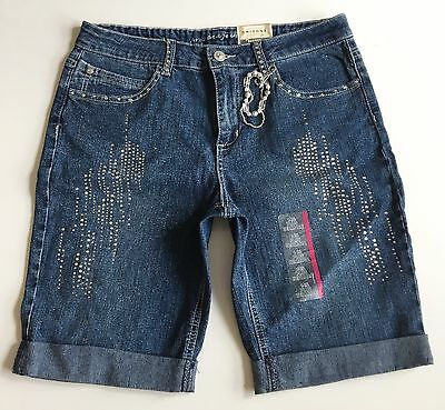 Nwt Arizona Youth Girls Sz 14 1/2 Plus Glitter Bermuda Jeans Shorts