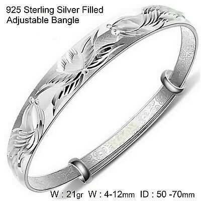 Bangle Bracelet Real 18k White GF Gold Solid Ladies Golf Cuff Design ID-70m