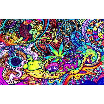"Psychedelic Trippy Art Fabric Silk Cloth Rolled Wall Poster Print 39x24"" /20x13"""