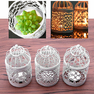 Hollow Holder Tealight Candlestick Hanging Lantern Vintage Bird Cage Wrought