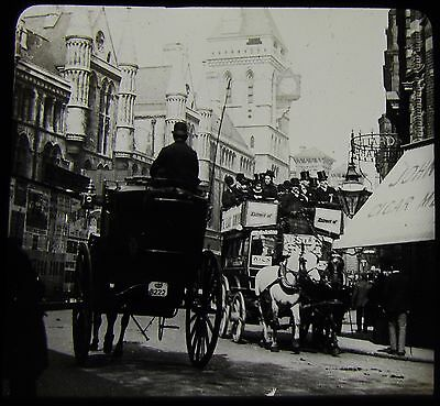 Glass Magic Lantern Slide THE LAW COURTS LONDON C1890 PHOTO STAGE COACHES