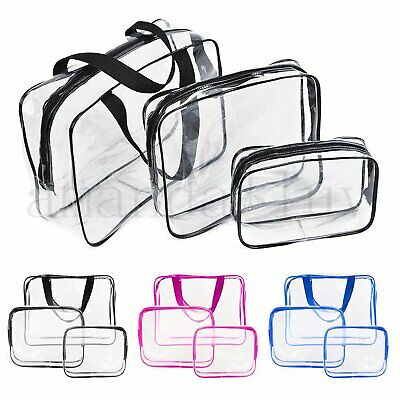3PCS Cosmetic Makeup Toiletry Clear PVC Organizer Travel Wash Bag Holder Set AU