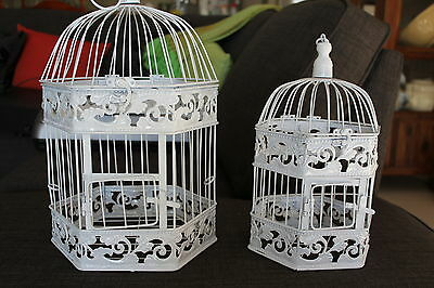Set Of 2 - Hexagonal White Decorative Bird Cages - Perfect Condition