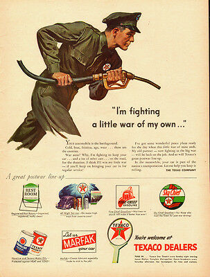 1943 vintage WW2 Ad  Texaco Products at war  Sky Chief Fire Chief  073014