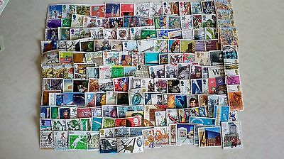 160 British Commemorative Stamps, G.b. Stamps, Used Off Paper