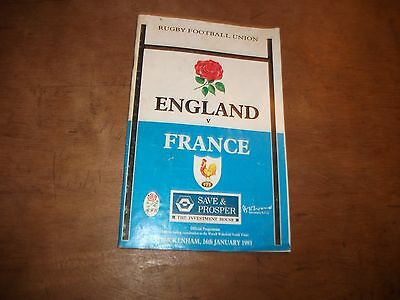 ENGLAND V FRANCE  5 NATIONS RUGBY PROGRAMME  16th JANUARY  1993