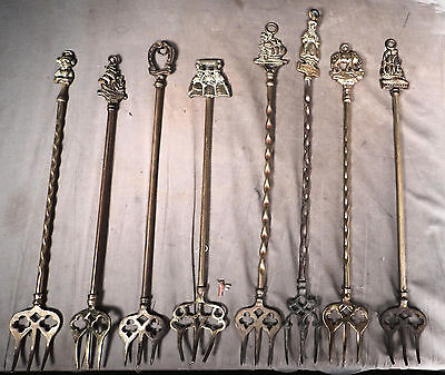 8 Antique English Brass Fireplace Toasting Fork Ship Devil Lady Edwardian PUB