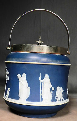 Antique Wedgwood jasperware EPNS Silver Biscuit Jar Barrel Cookie jar Cracker